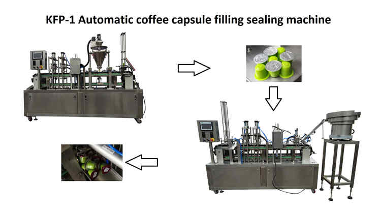 2019-1-10,two KFP-1 high speed automatic coffee capsules filling sealing machine