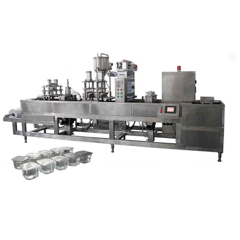 Automatic PET plastic liquid water cup forming filling and sealing machine