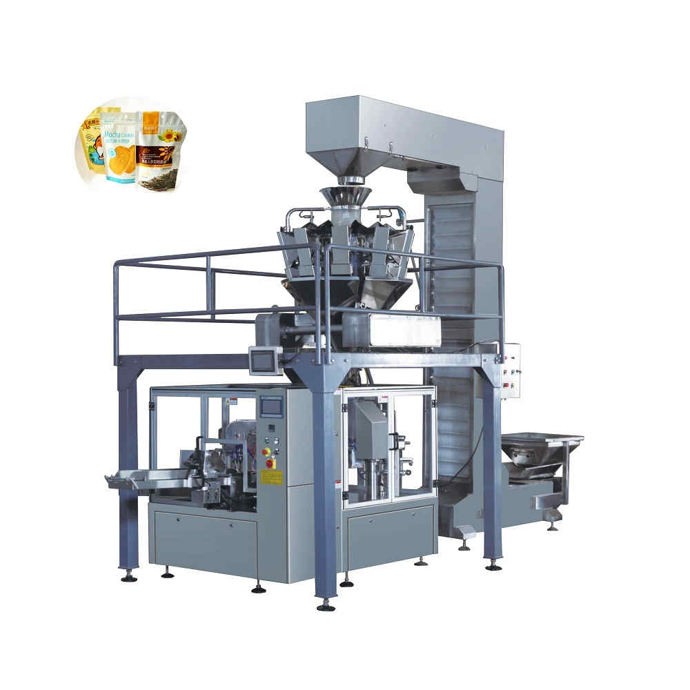 Automatic rotary bag packing machine with multi heads weigher