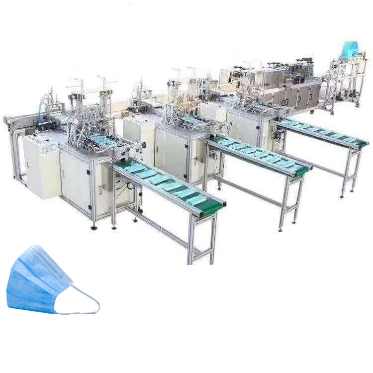 Fully automatic 3 ply nonwoven fabric disposable medical face mask making machine