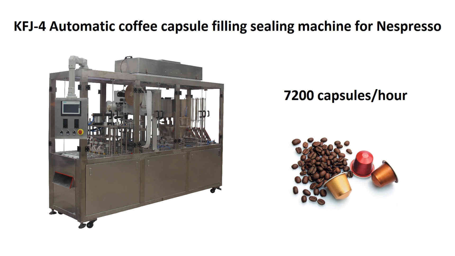 KFJ-4 Automatic coffee capsule filling and sealing machine for Nespresso
