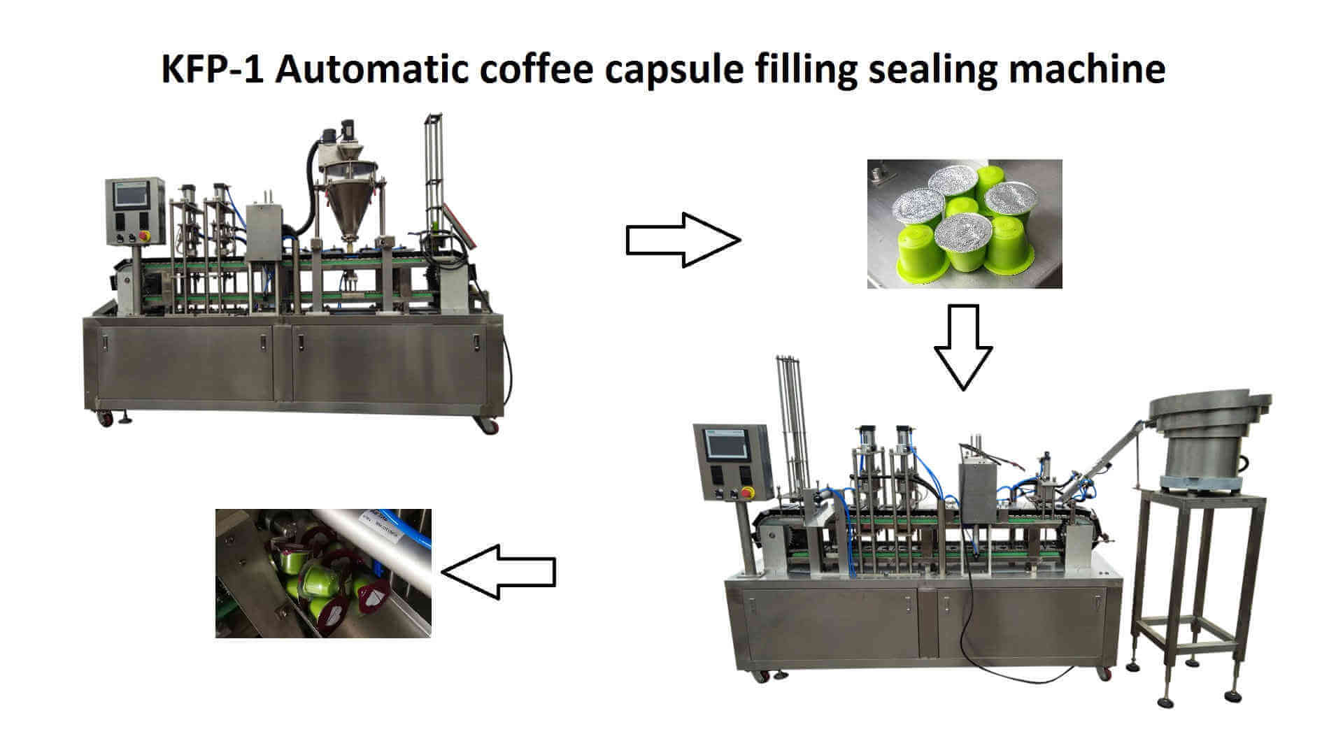 two KFP-1 high speed automatic coffee capsules filling sealing machine for Nespr